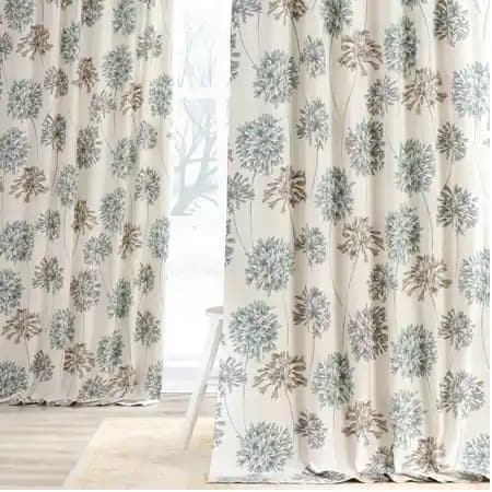 Allium Blue Gray Printed Cotton Curtain