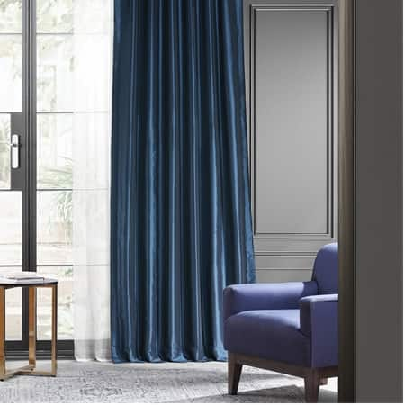Navy Blue Blackout Faux Silk Taffeta Curtain