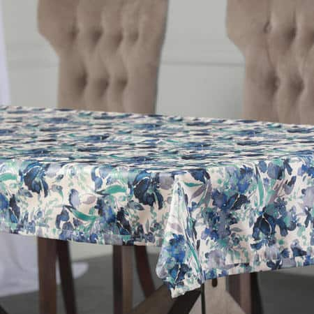 Watercolor Turquoise Designer Faux Silk Taffeta Table Cloth