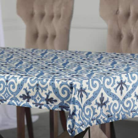 Iron Gate Blue Designer Faux Silk Taffeta Table Cloth