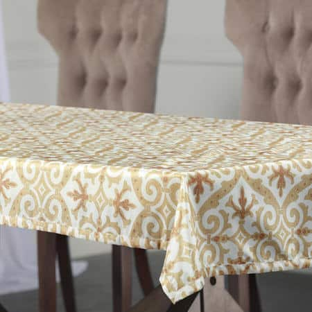 Iron Gate Gold Designer Faux Silk Taffeta Table Cloth
