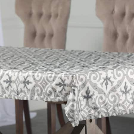 Iron Gate Grey Designer Faux Silk Taffeta Table Cloth