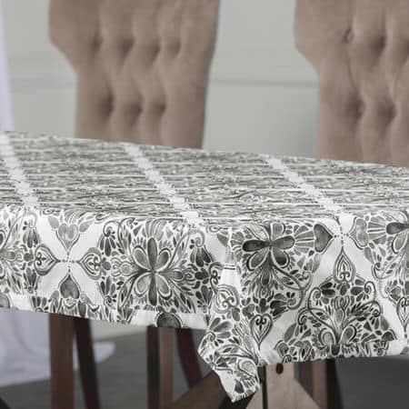 Tiera Grey Designer Faux Silk Taffeta Table Cloth