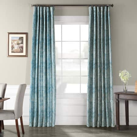 Wilton Blue Printed Faux Silk Taffeta Blackout Curtain