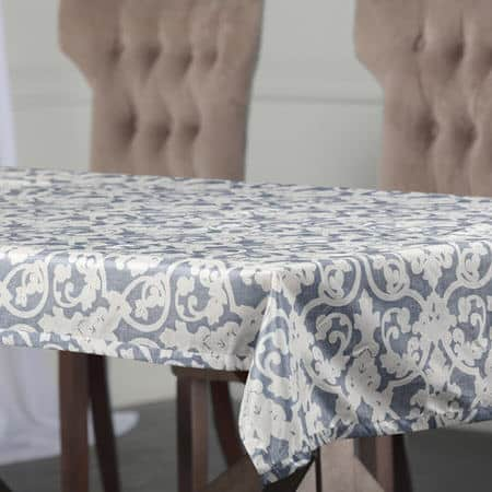 Rococo Blue Designer Faux Silk Taffeta Table Cloth