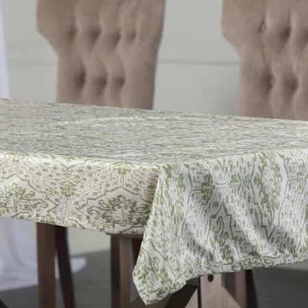 Tabriz Green Designer Faux Silk Taffeta Table Cloth