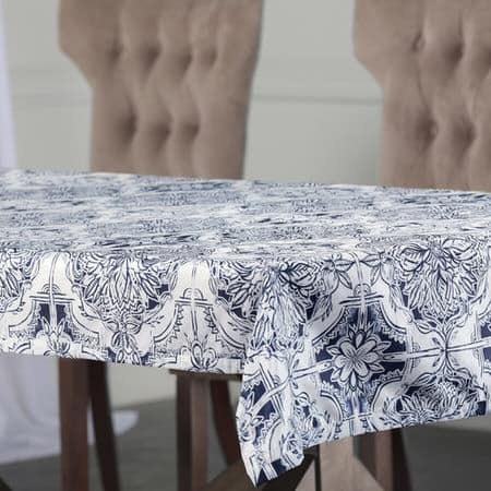 Delft Blue Designer Faux Silk Taffeta Table Cloth