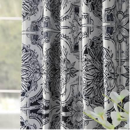Delft Blue Printed Faux Silk Taffeta Blackout Curtain