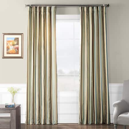 Woodcroft Luxury Faux Silk Stripe Curtain