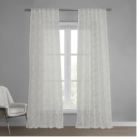 Paris Scroll Patterned Faux Linen Sheer Curtain