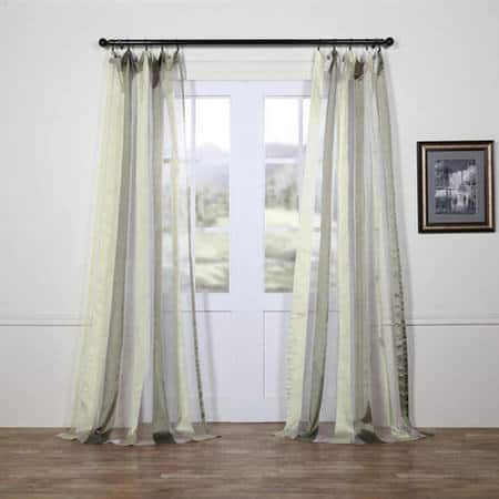 Laquered Silver & White Organza Vertical Stripe Sheer Curtain