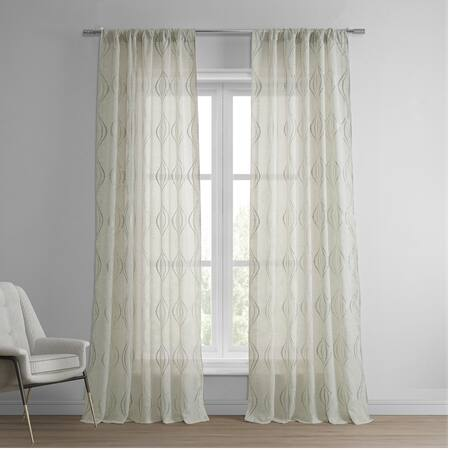 Suez Natural Embroidered Faux Linen Sheer Curtain