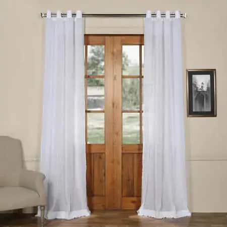 Aspen White Grommet Solid Faux Linen Sheer Curtain