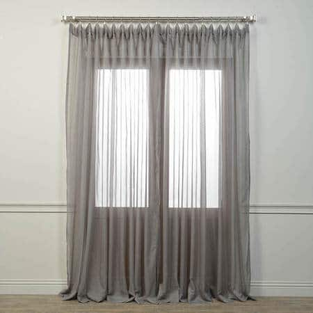 Extra Wide Solid Grey Voile Poly Sheer Curtain