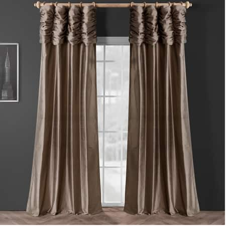 Ruched Silver Grey Thai Silk Curtain