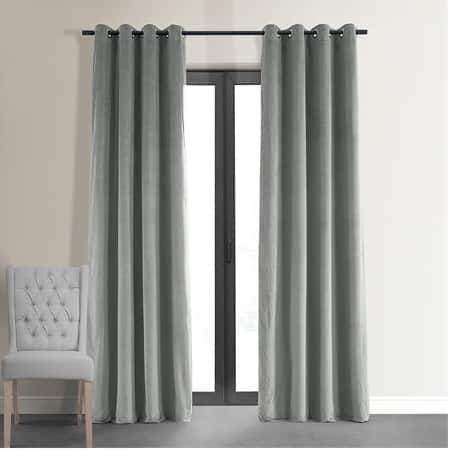 Signature Silver Grey Grommet Blackout Velvet Curtain