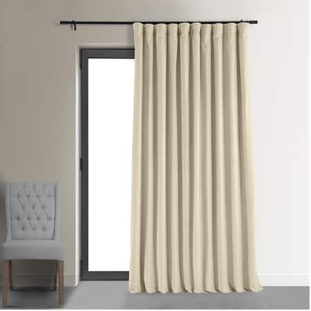 Signature Ivory Extra Wide Velvet Blackout Pole Pocket Curtain