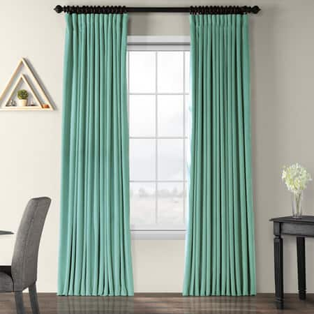 Signature Aqua Mist Extra Wide Blackout Velvet Curtain