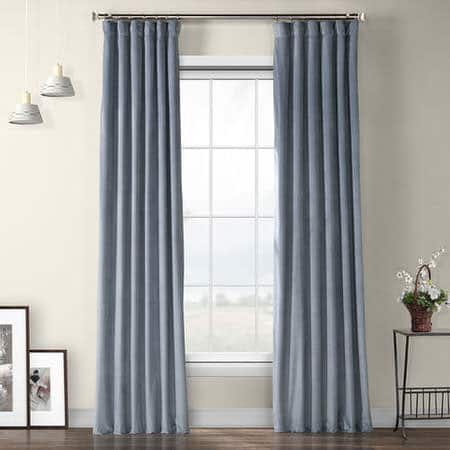 Denmark Blue Heritage Plush Velvet Curtain