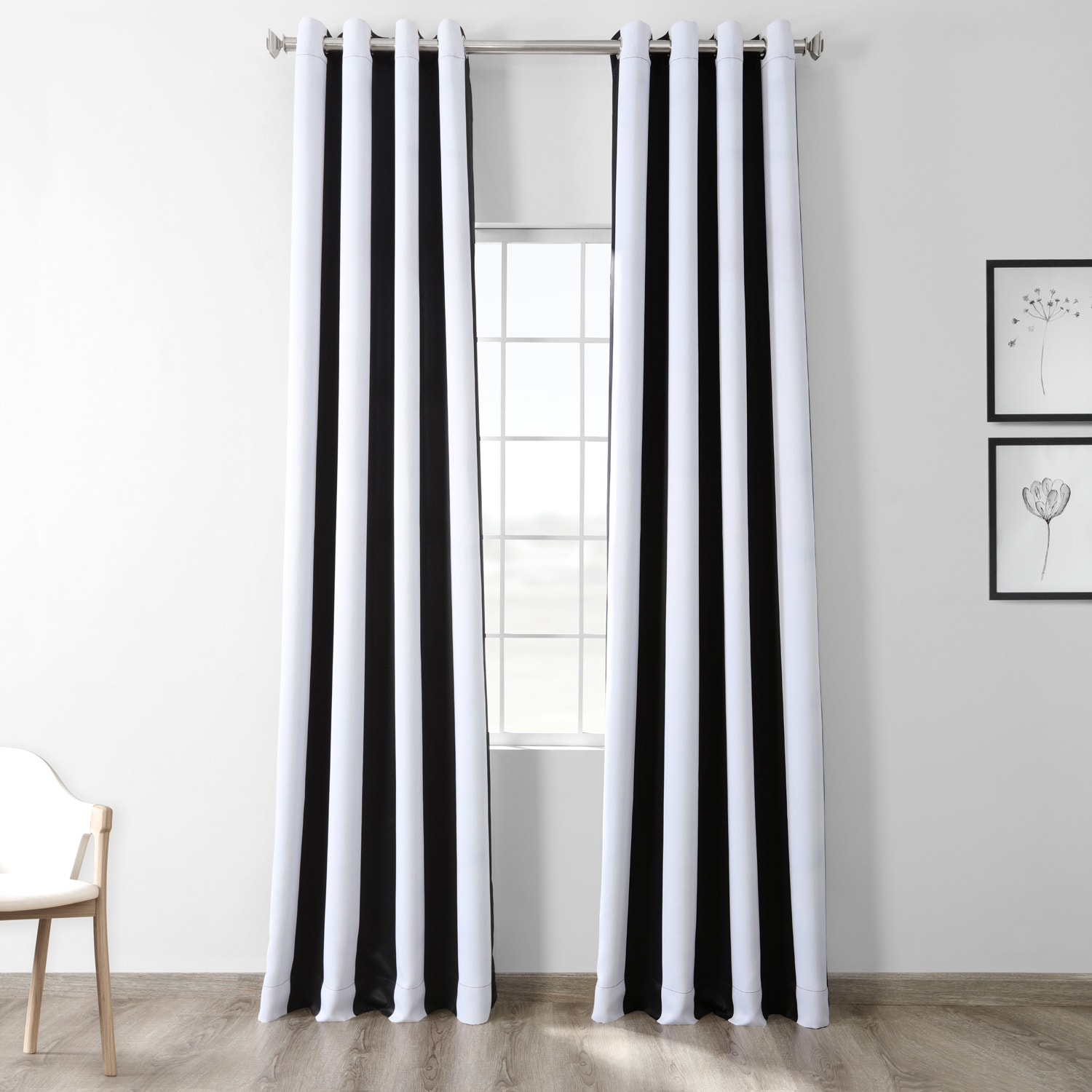 Awning Black White Stripe Grommet Blackout Curtains