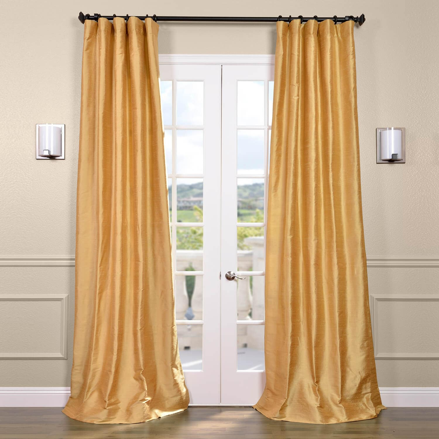 Gold silk curtains half price drapes for Curtains and drapes