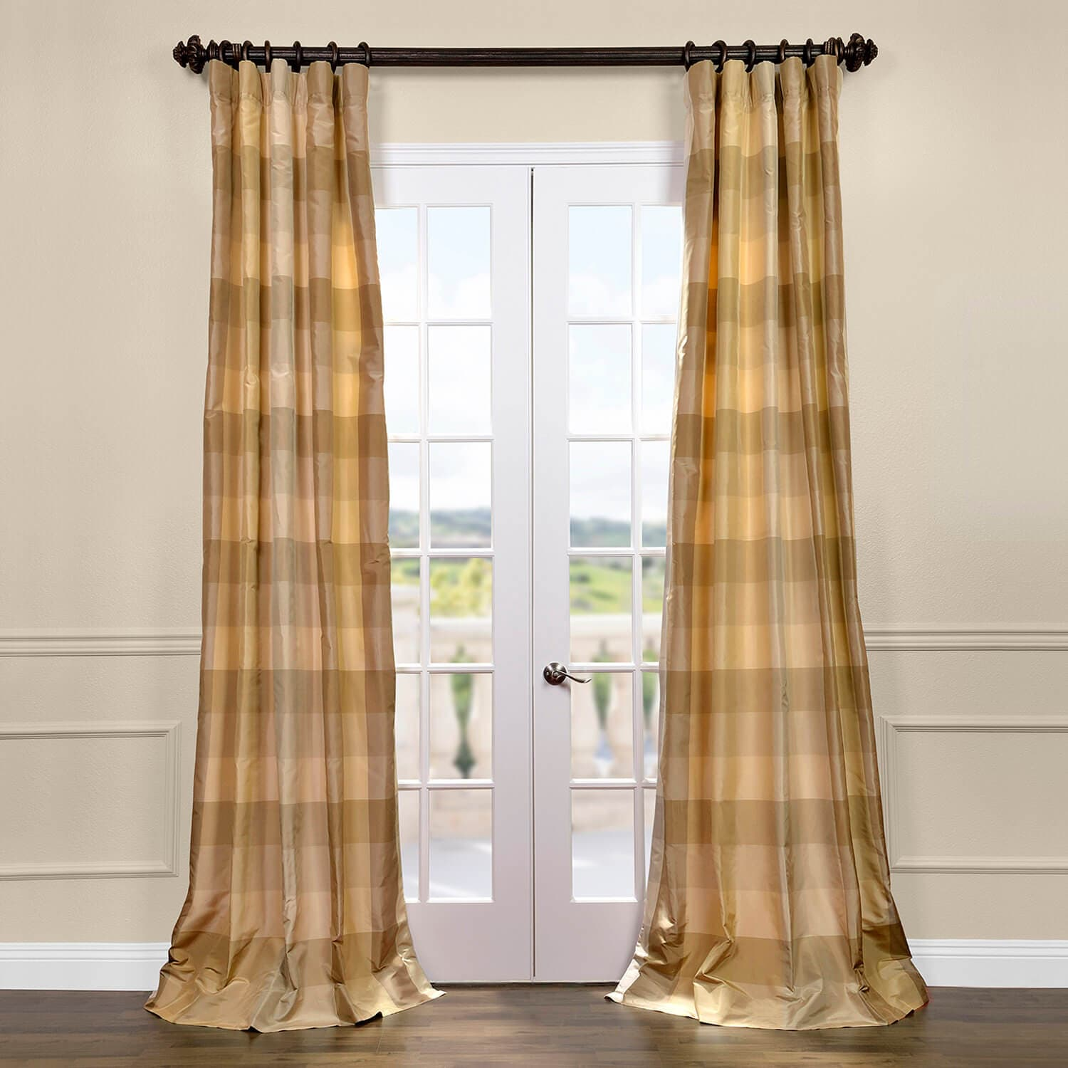 Newman Silk Taffeta Plaid Curtains Drapes