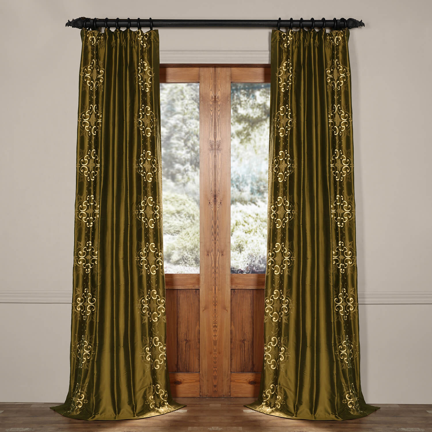 Cassandra Sage Green Thai Silk Curtains And Drapes