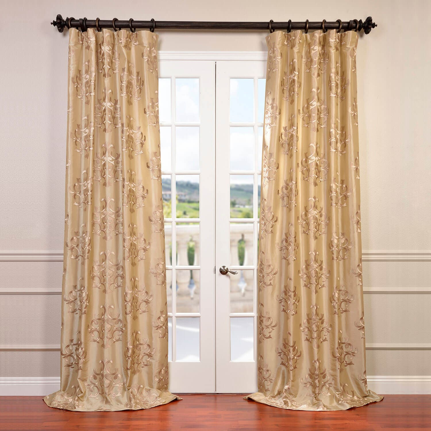 Champagne | Embroider | Curtain | Silk | Faux