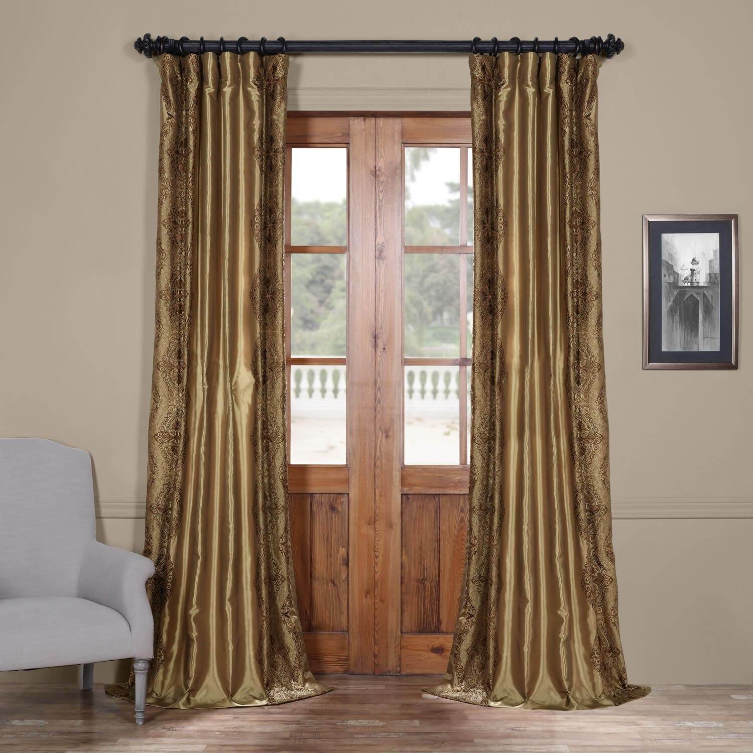 Shop Chai Embroidered Faux Silk Curtains Drapes
