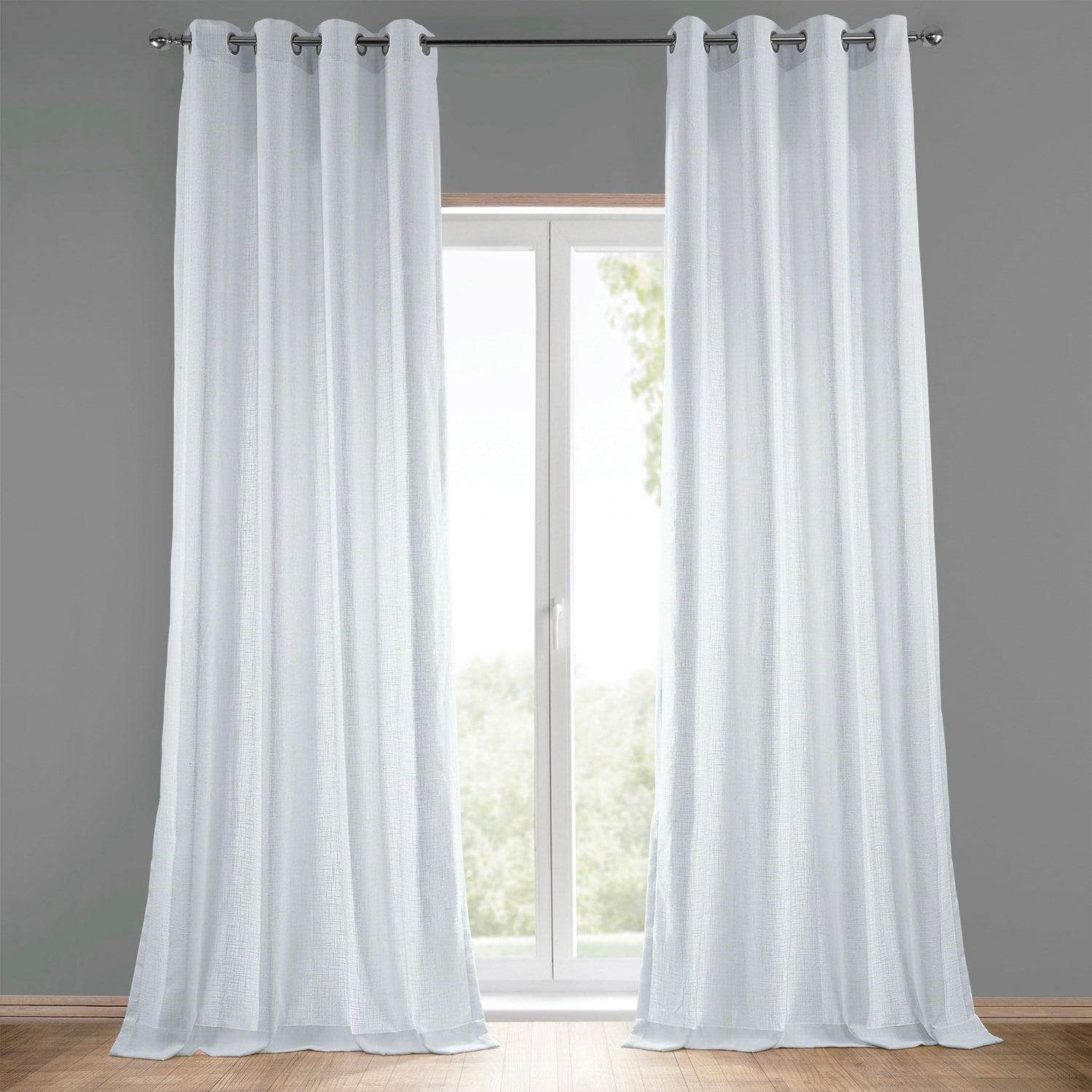Buy White Grommet Heavy Faux Linen Curtains Panel