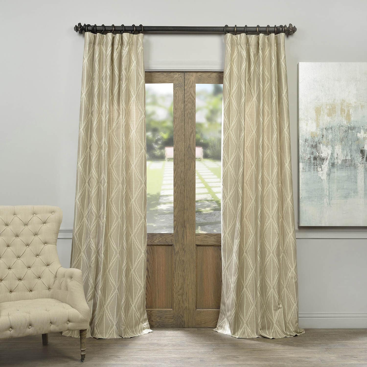 Hawaii Taupe Faux Silk Jacquard Curtain For 2018 Promo Codes Discount Directory