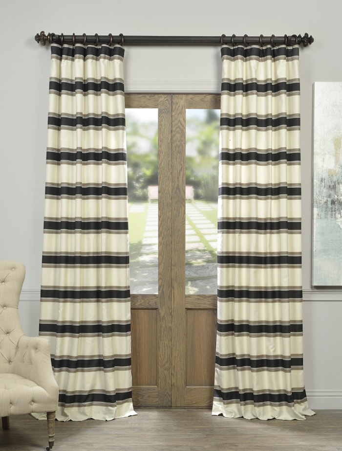 Black And Cream Shower Curtain Striped Cafe Curtains