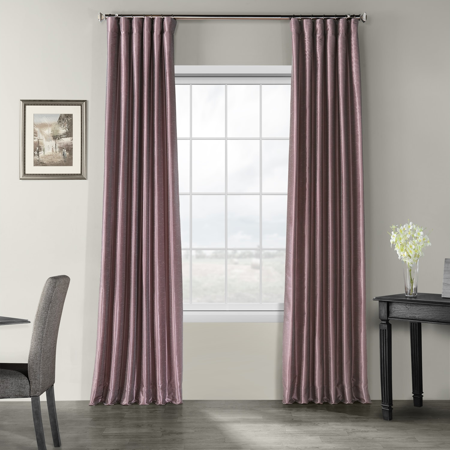 Smokey Plum Vintage Textured Faux Dupioni Silk Curtains