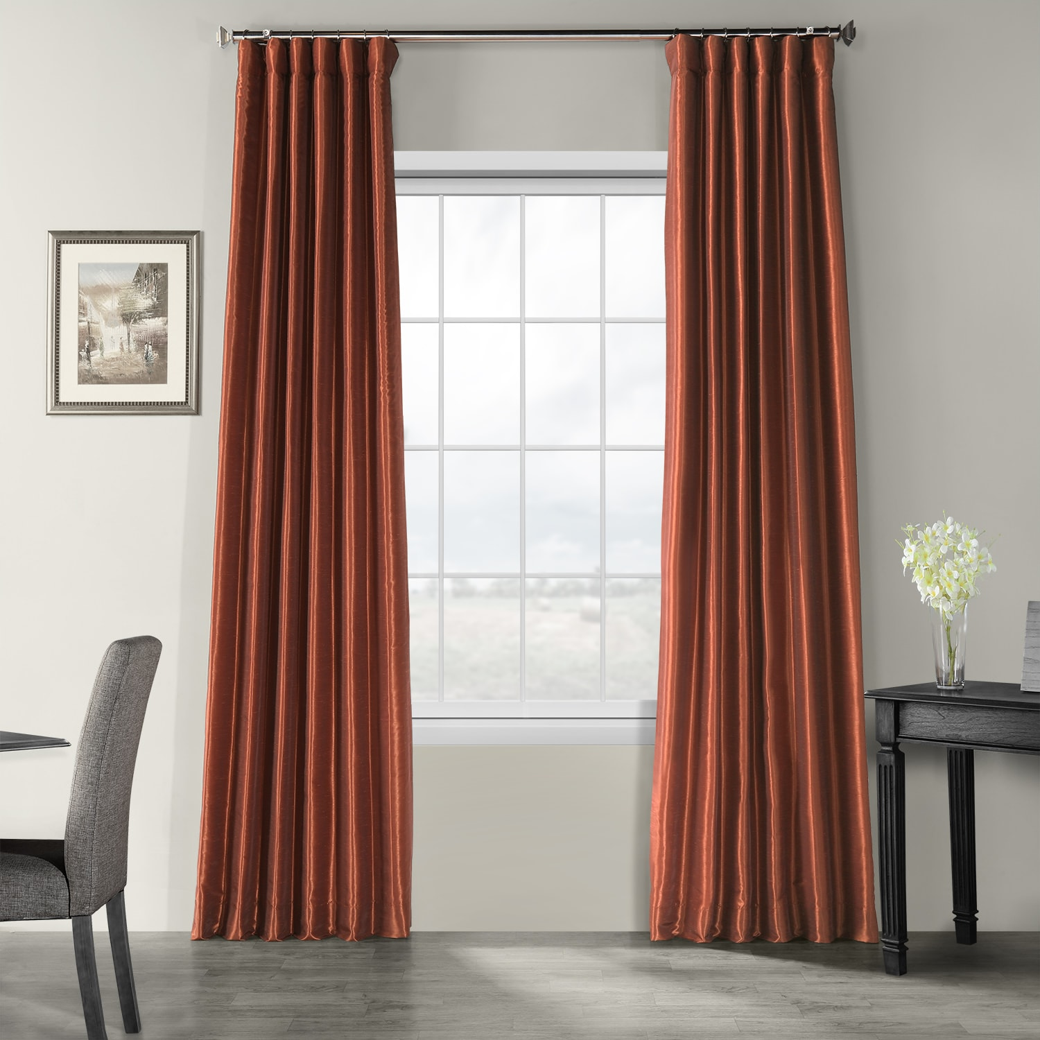 Curtains With Valance For Living Room Copper Faux Silk Curtains