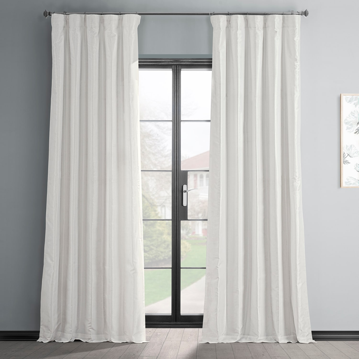 off white textured vintage faux dupioni silk curtains