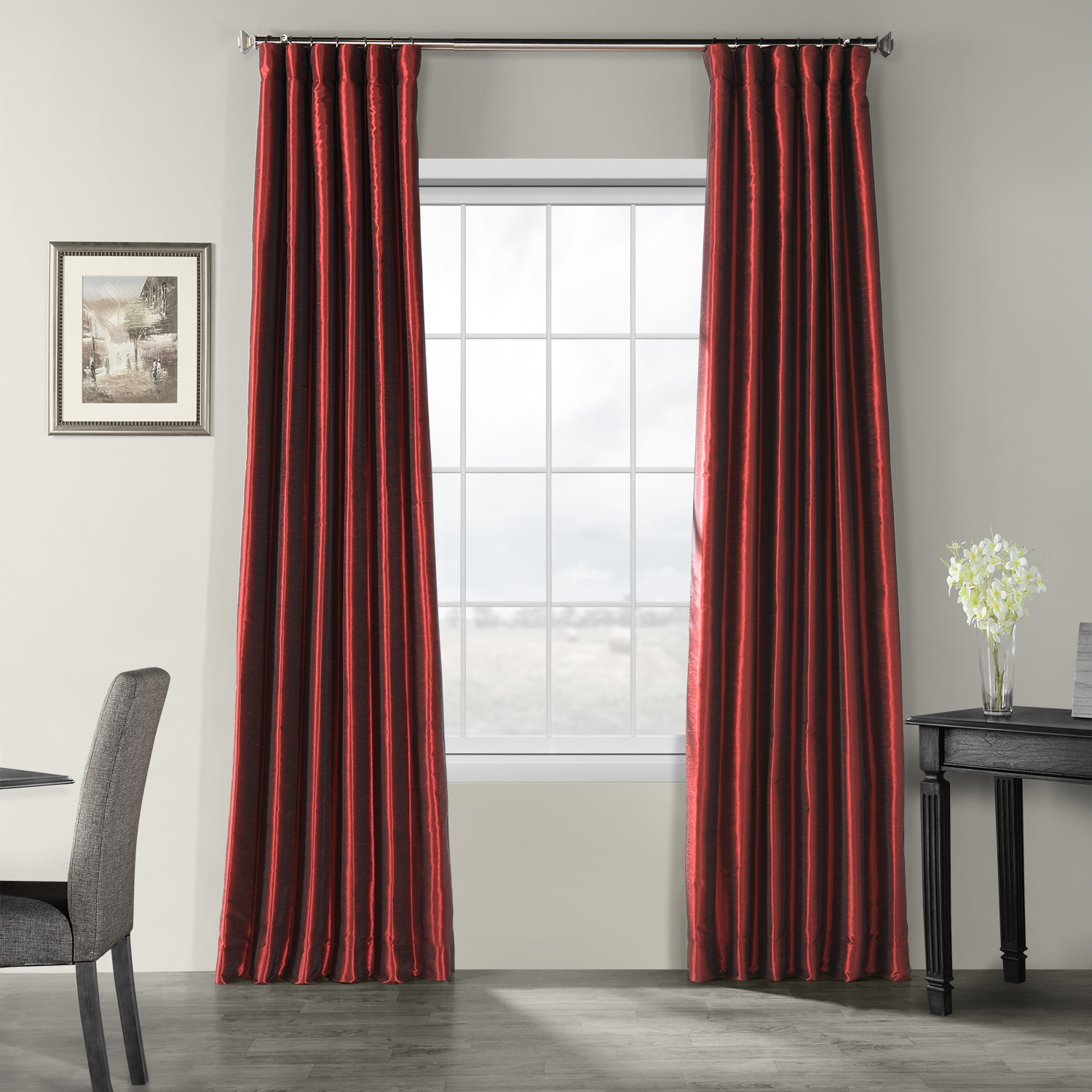 buy ruby vintage textured faux dupioni silk curtains