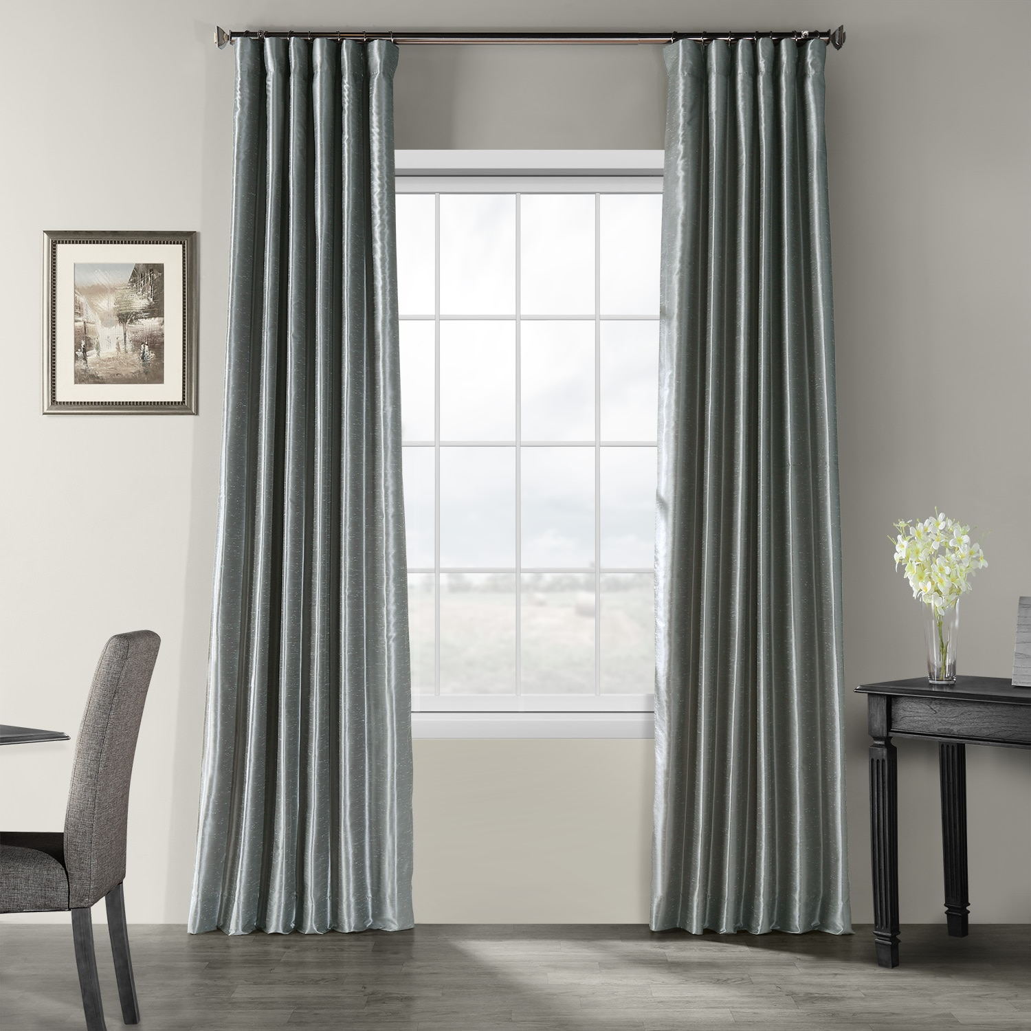 storm grey textured vintage faux dupioni silk curtains