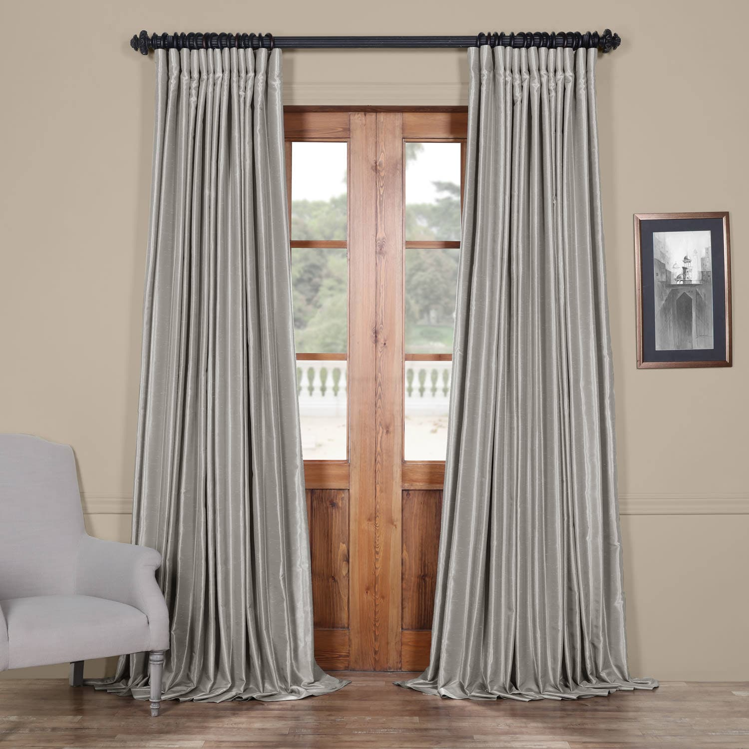 Silver Blackout Extra Wide Vintage Textured Faux Dupioni Curtain