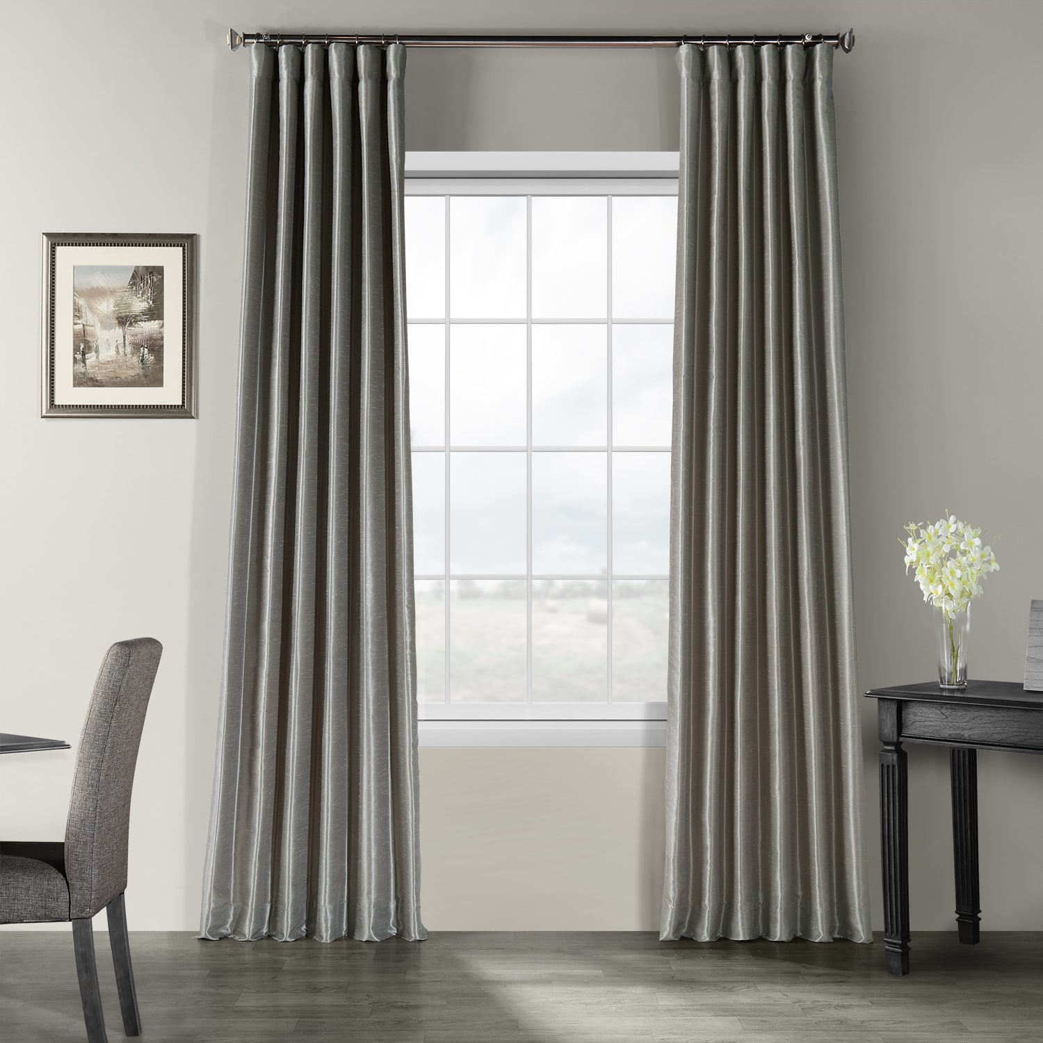 buy silver vintage textured faux dupioni silk curtains