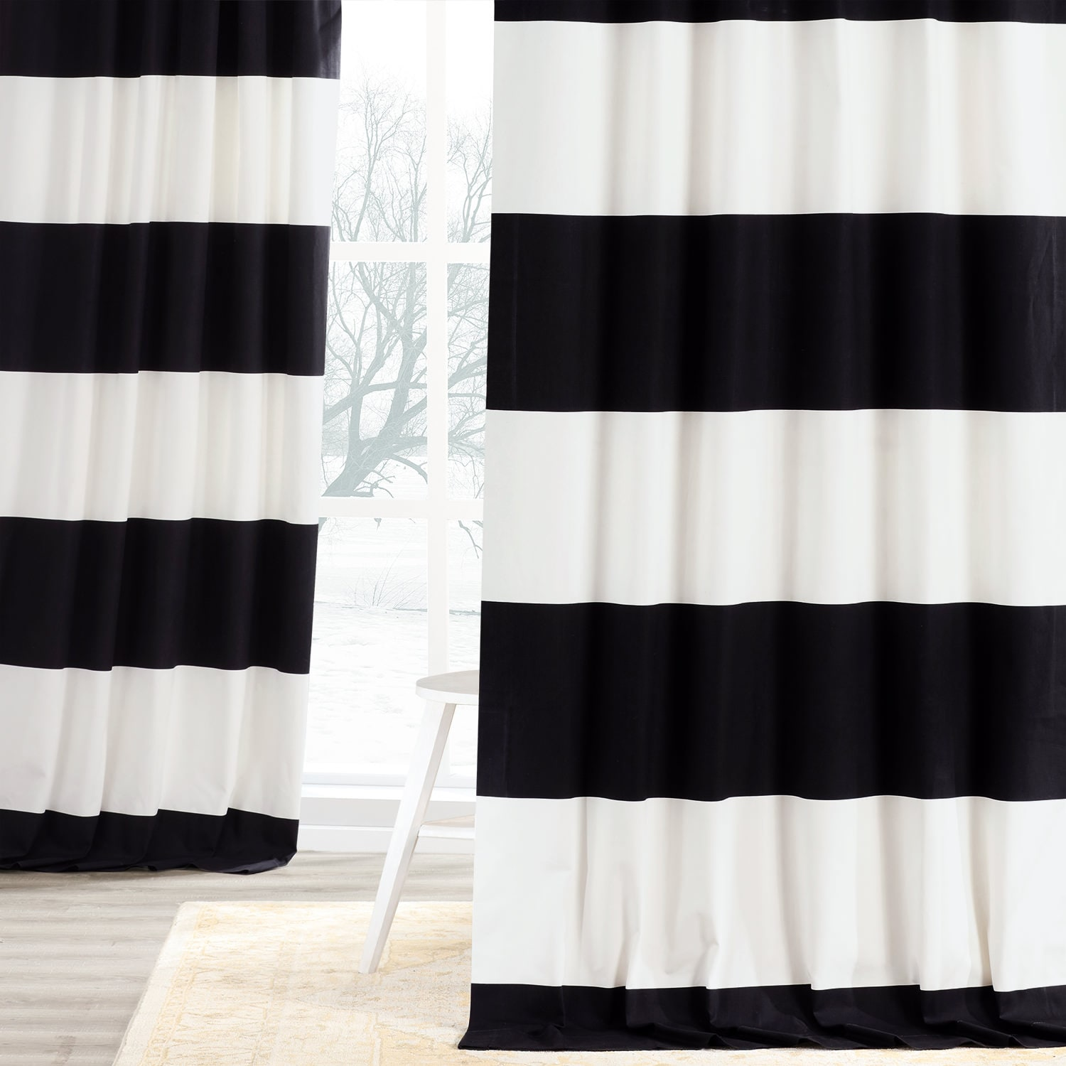 get onyx black and off white horizontal stripe curtain. Black Bedroom Furniture Sets. Home Design Ideas