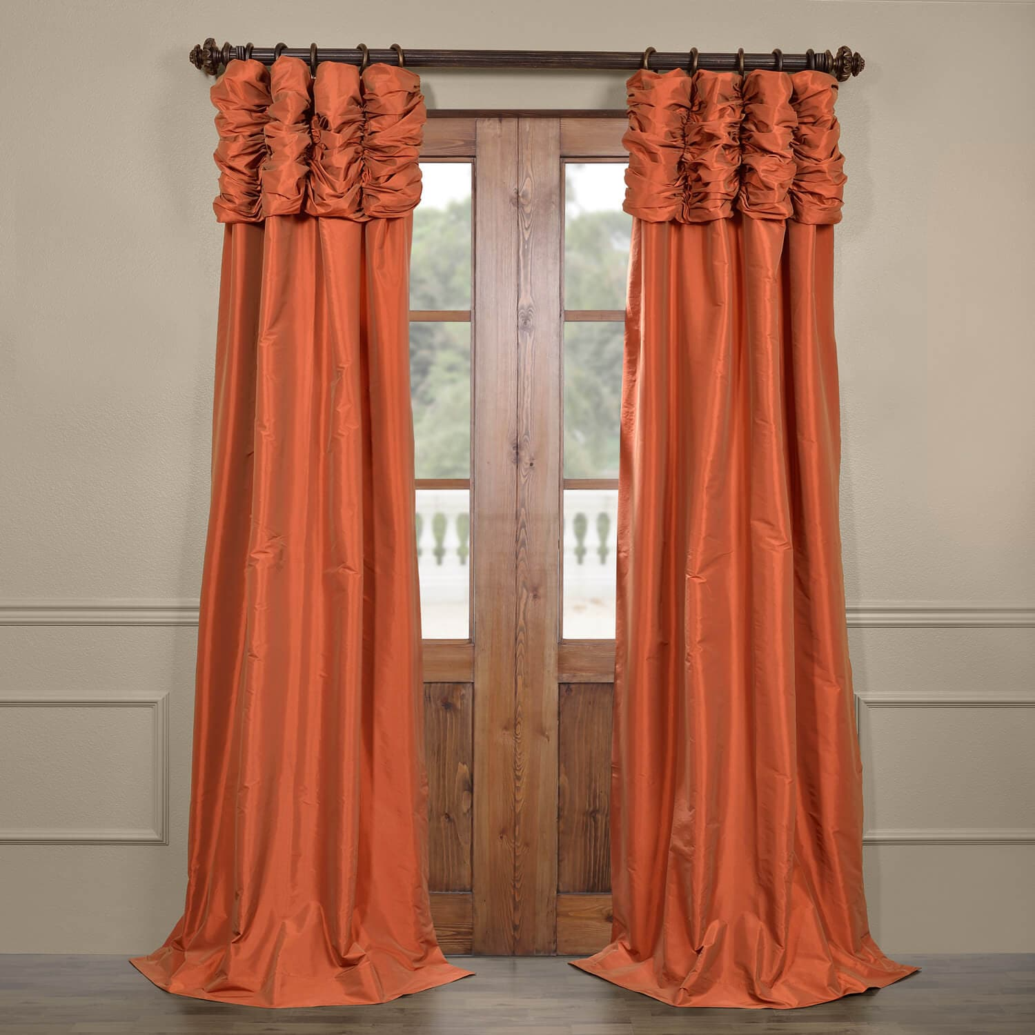 Get Harvest Orange Ruched Faux Solid Taffeta Curtains