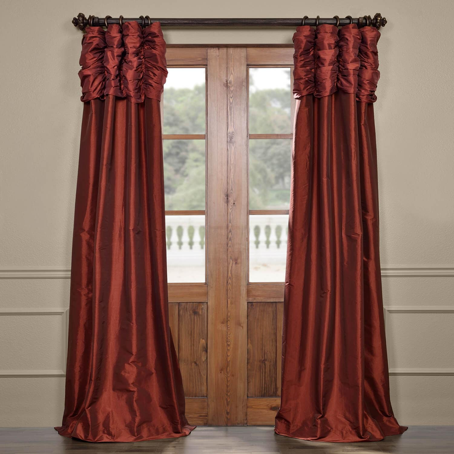 Get Paprika Ruched Faux Solid Taffeta Curtains Amp Drapes