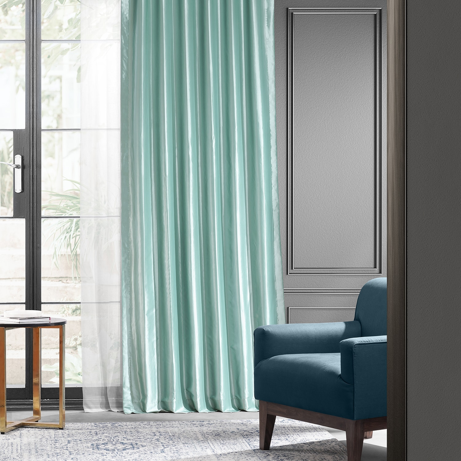 Robin S Egg Blackout Faux Silk Taffeta Curtains Drapes