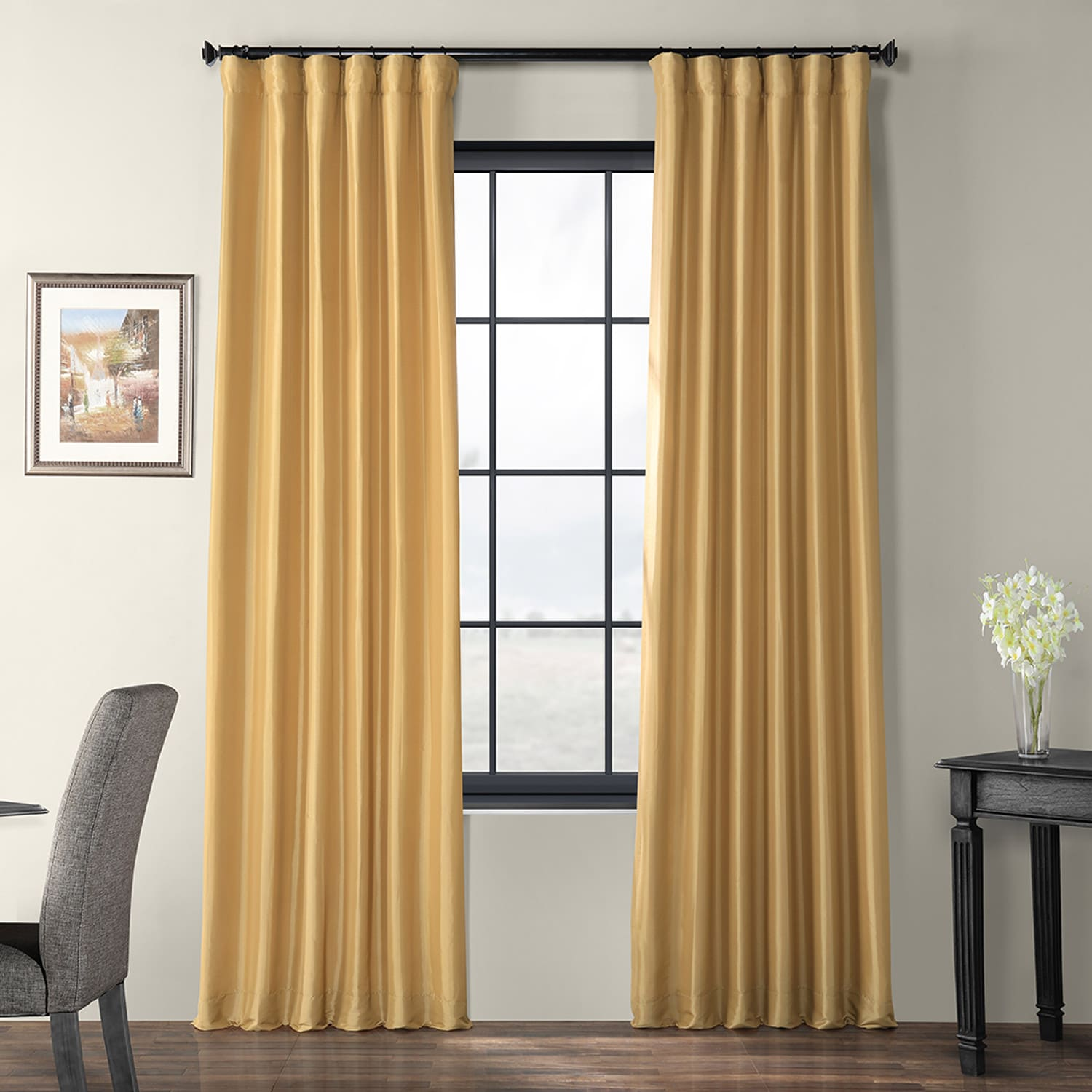 Buy Honey Faux Silk Taffeta Curtains Drapes