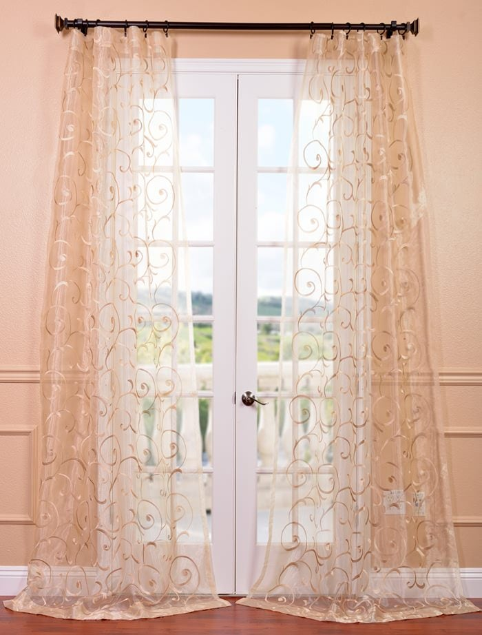 Bella Gold Embroidered Sheer Curtains Drapes
