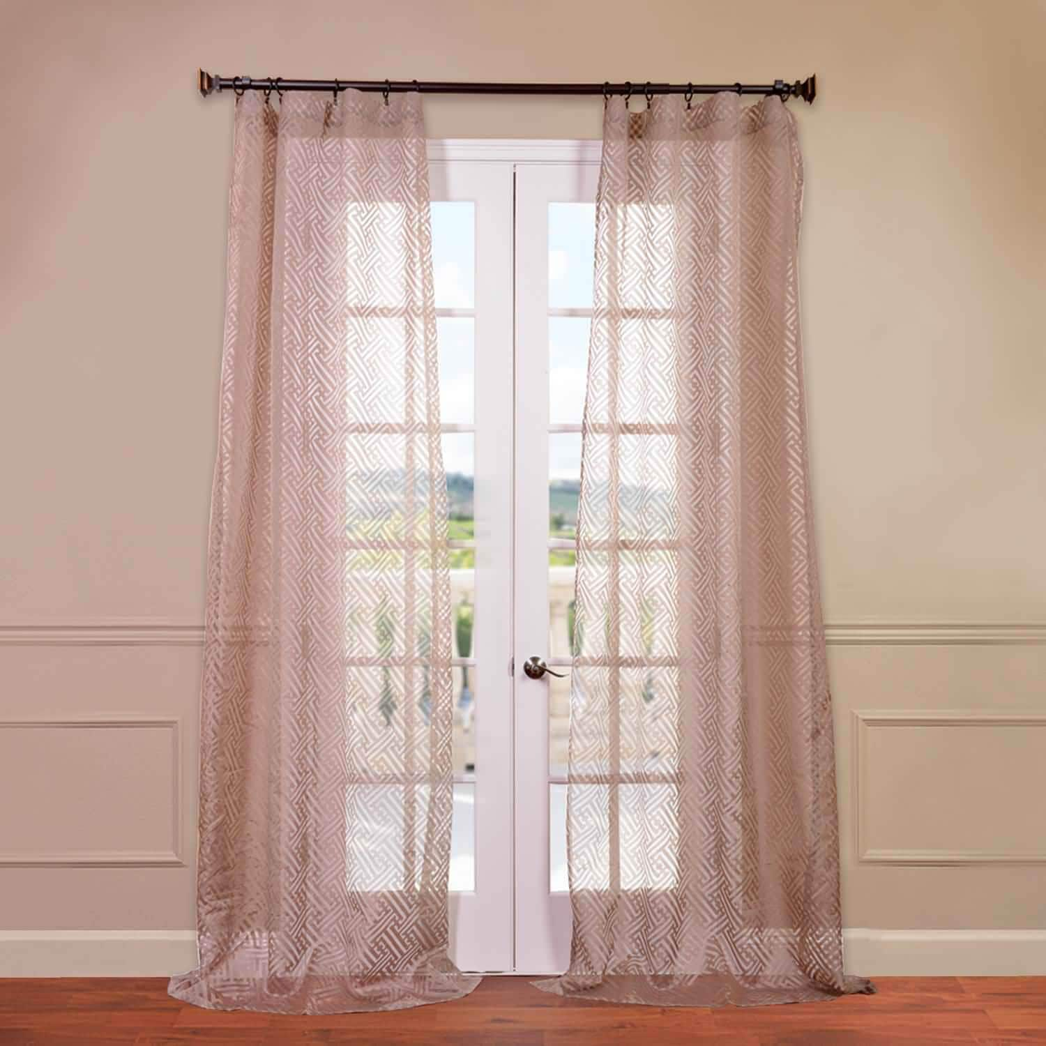 Zara Taupe Patterned Sheer Curtains Drapes