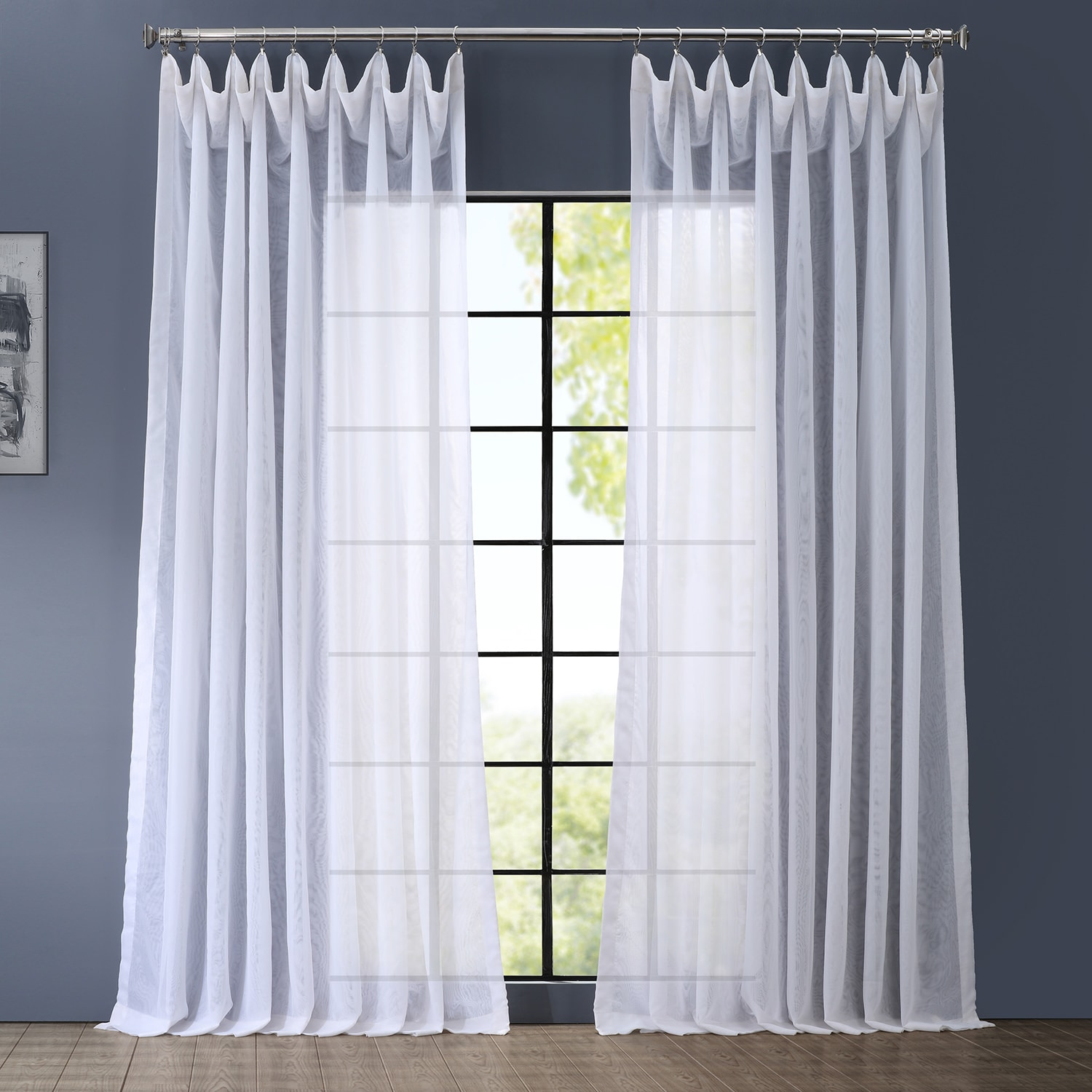 Signature Double Wide White Sheer Curtains