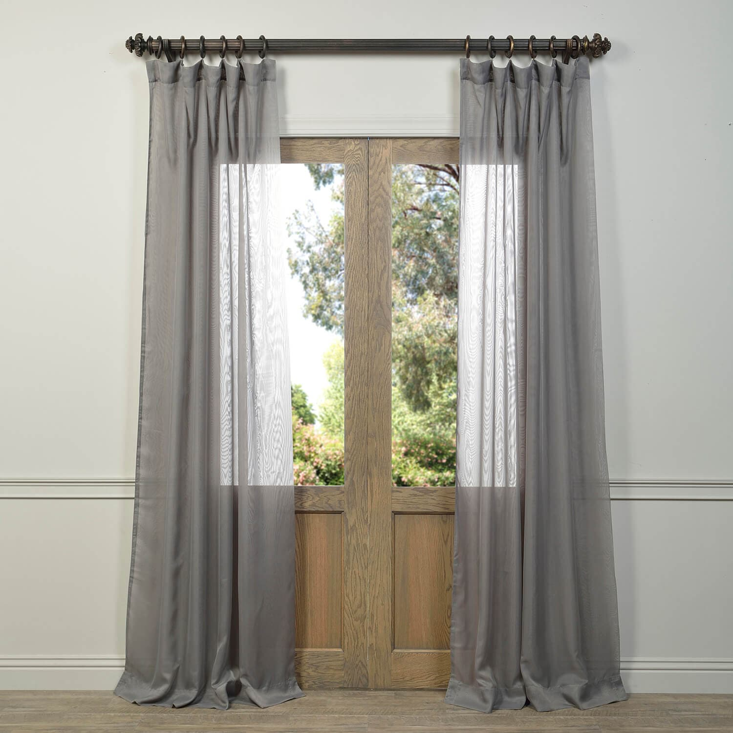 Signature Double Layered Grey Sheer Curtain Amp Drapes