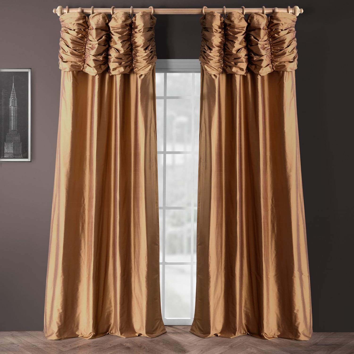 buy ruched brown gold thai silk curtains panel. Black Bedroom Furniture Sets. Home Design Ideas