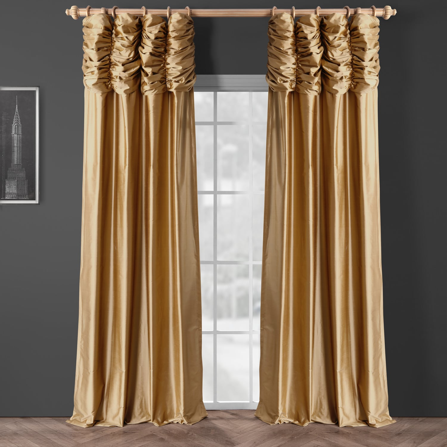 Buy Ruched Taupe Gold Thai Silk Curtains, Drapes